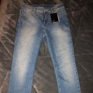 ASOS light washed denim high rise skinny jeans